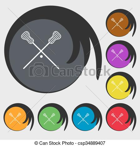 Vector Clipart of Lacrosse Sticks crossed icon. Symbols on eight.