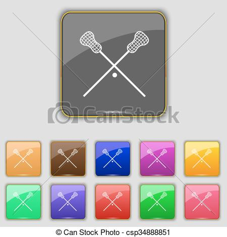 Clipart Vector of Lacrosse Sticks crossed icon sign. Set with.