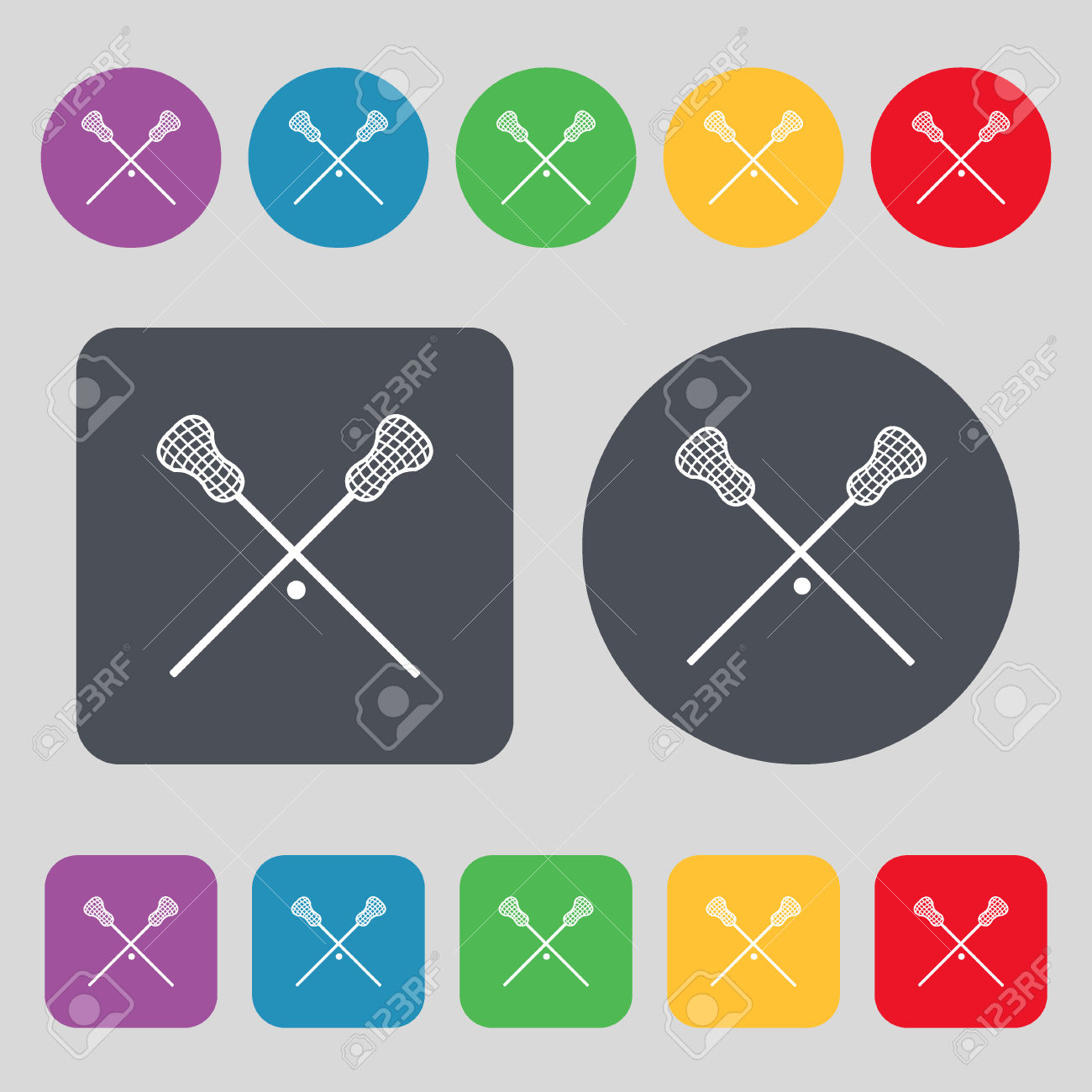 Lacrosse Sticks Crossed Icon Sign. A Set Of 12 Colored Buttons.