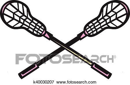 Lacrosse Stick Woodcut Clip Art.