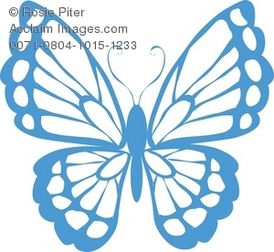 Clipart Picture of a Lacy Butterfly.