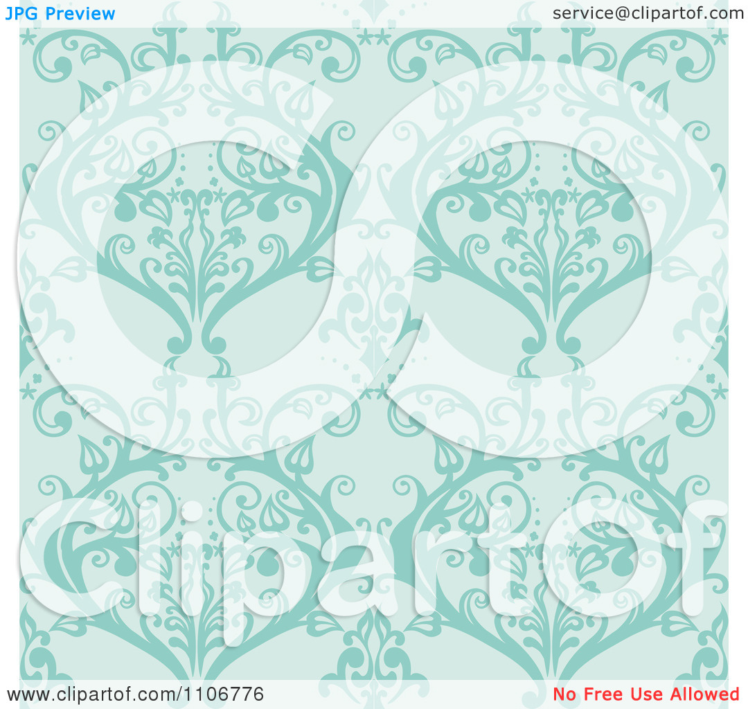 Clipart Seamless Lacy Turquoise Damask Background Pattern.