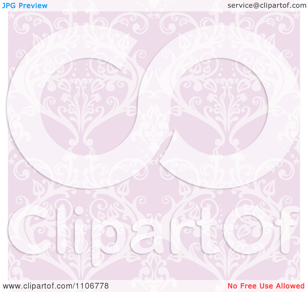 Clipart Seamless Lacy Purple Damask Background Pattern.