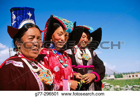 Stock Photography of Woman with typical dresses in Leh. Ladakh.