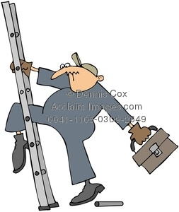Clipart Image: Worker Slipping On A Broken Ladder.