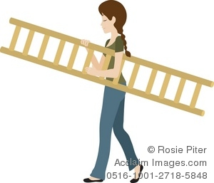 Clipart Illustration of a Woman Carrying a Ladder.