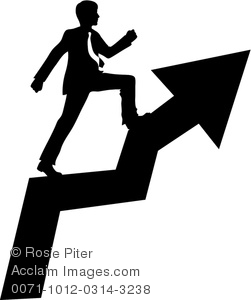 Clipart Image of Businessman Climbing the Ladder of Success.