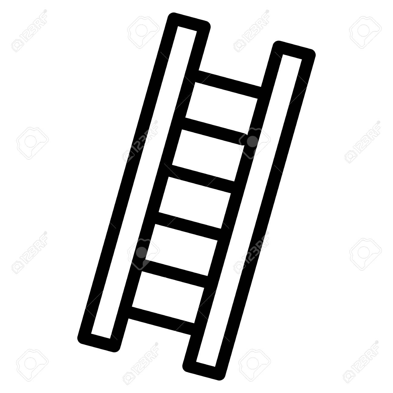 Ladder simple vector icon. Black and white illustration of ladder.
