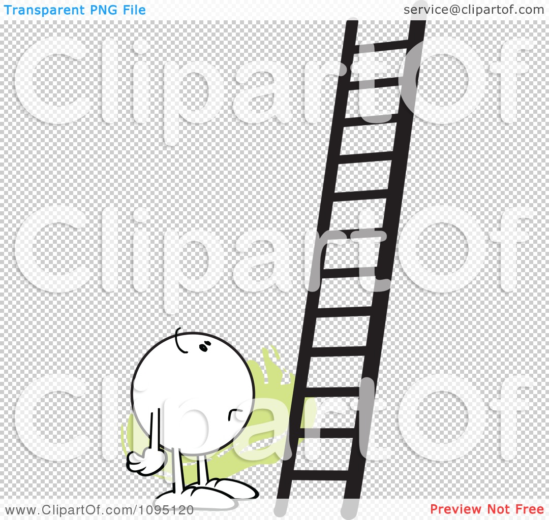 Clipart Doubtful Moodie Character Looking At A Ladder.