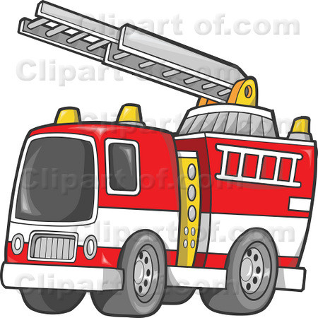 Fire Truck and Ladder Clipart Illustration.