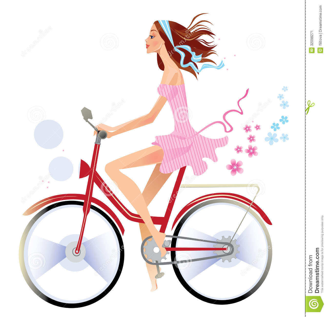Girl On Bicycle Clip Art.