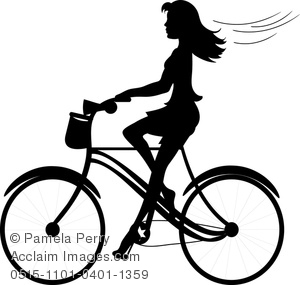 Vintage woman bicycle clipart.