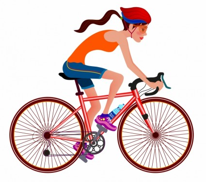 Woman bicycle clipart.