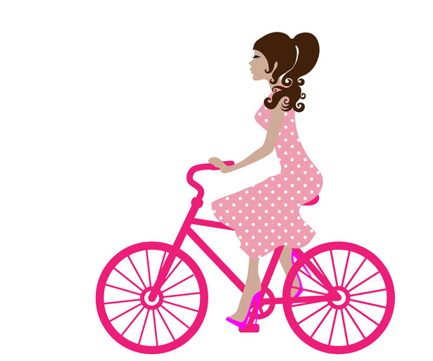 Girl On Bike Clipart.