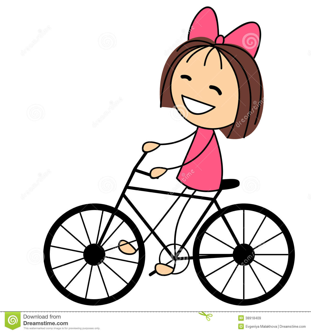 Girl On Bike With Basket Clipart.