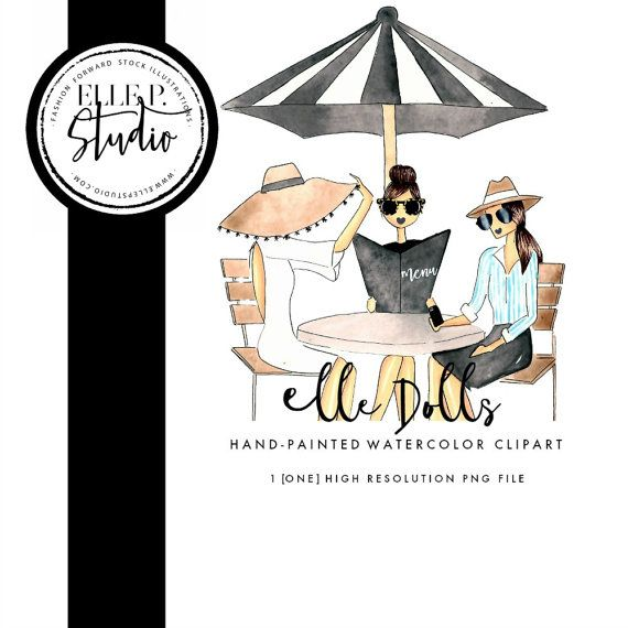Ladies who Lunch Illustration / Woman Clipart / Brunch Clipart.