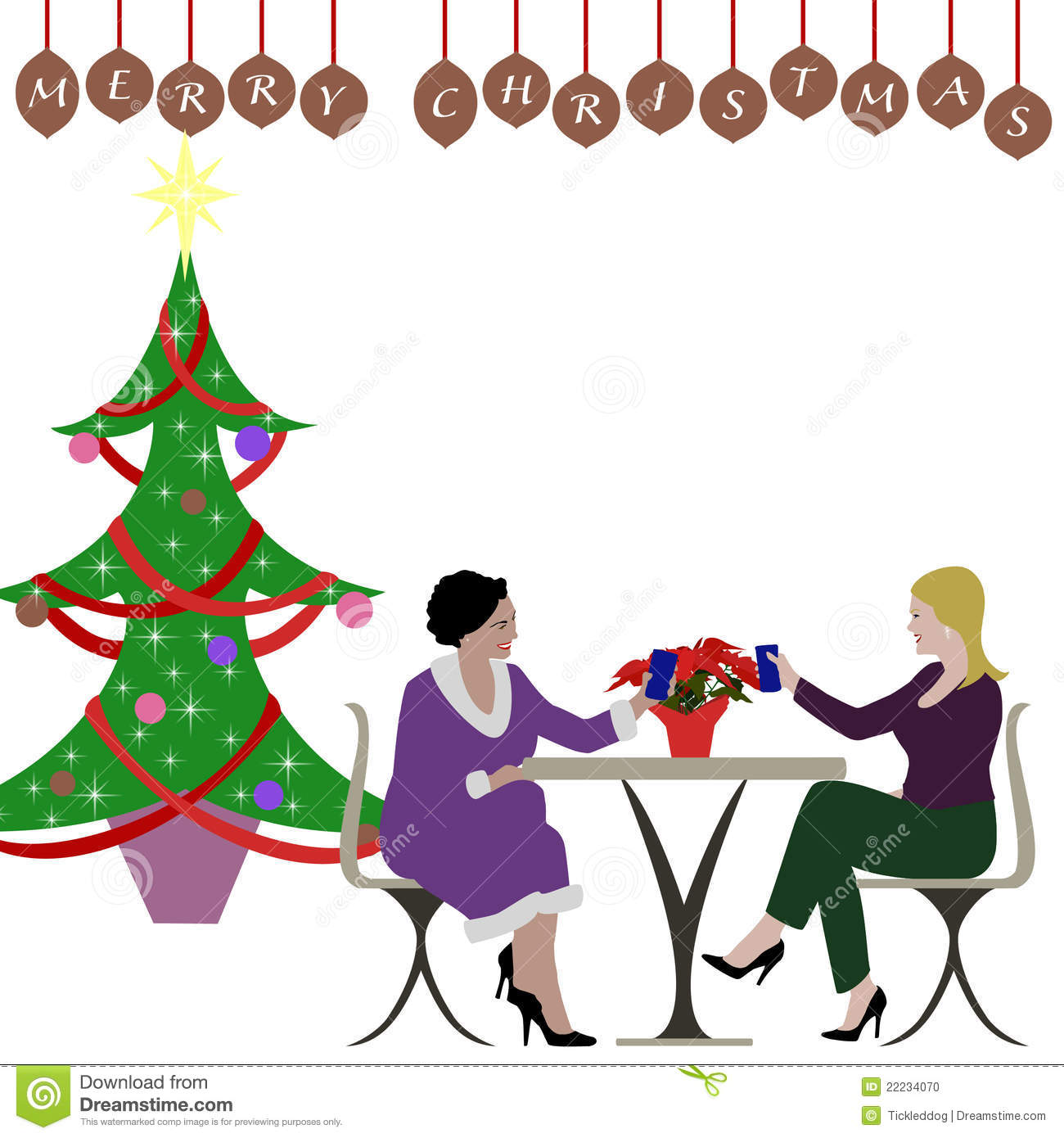 Ladies Christmas Party Clipart.