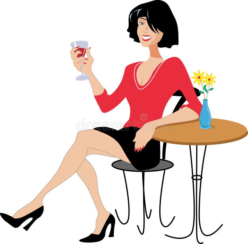 Lady Drinking Wine Stock Illustrations.
