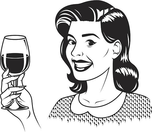 Best Women Drinking Wine Illustrations, Royalty.