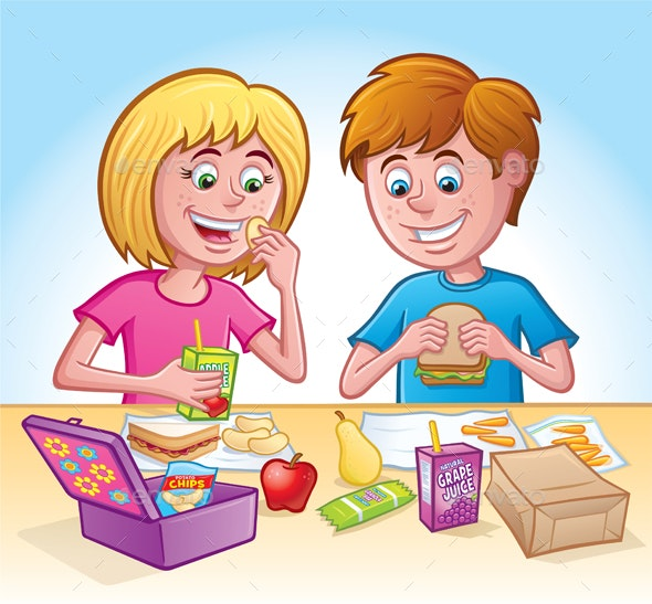 Girl and Boy Eating Lunch at School.