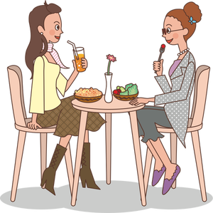 684 ladies eating lunch clipart.