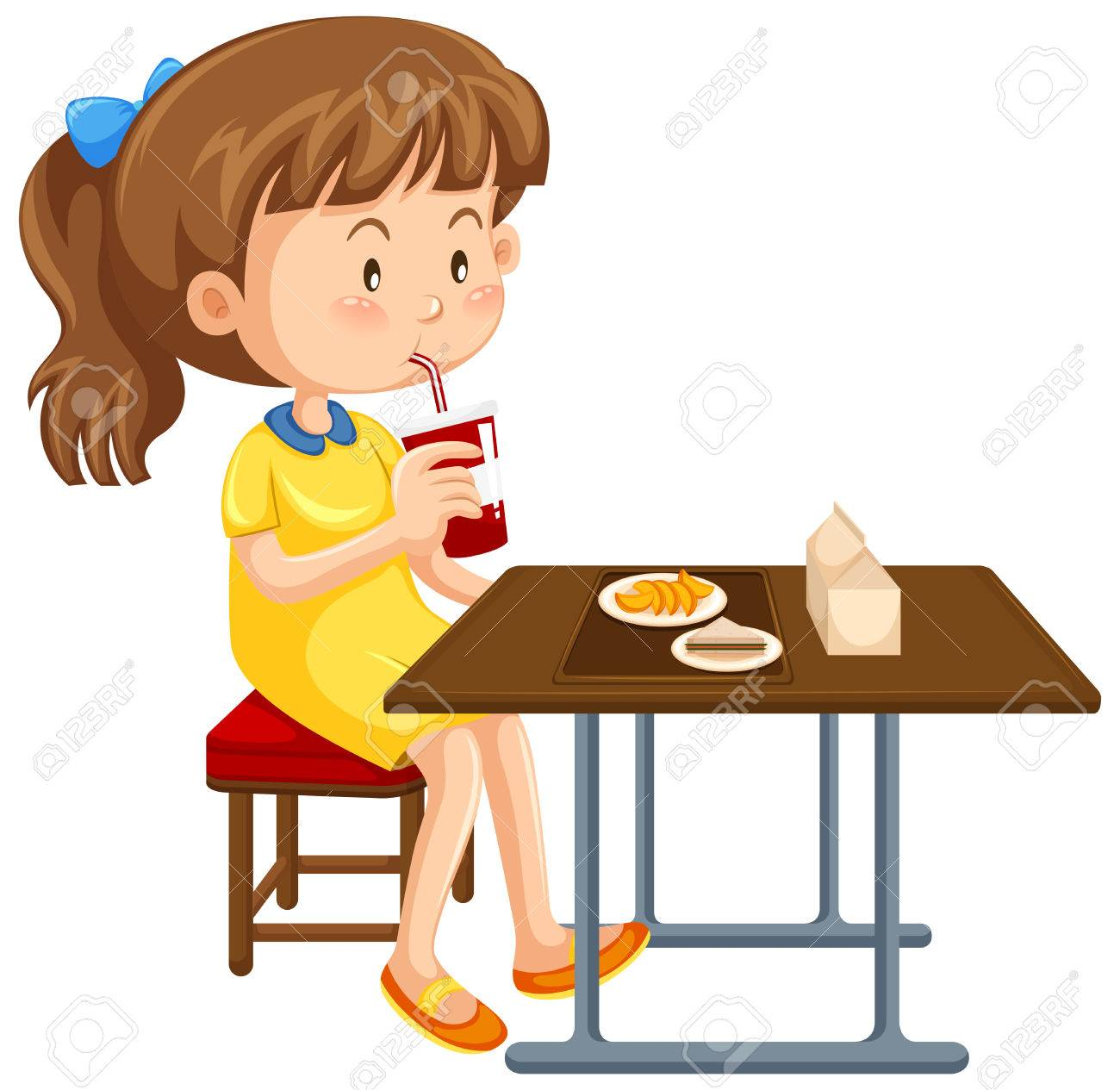 Girl Eating At Table Clipart.