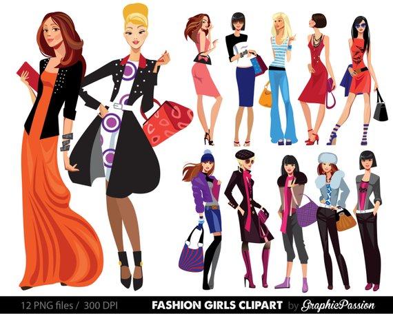 Fashion Lady Clip Art Fashion Girl Digital Shopping Ladies.