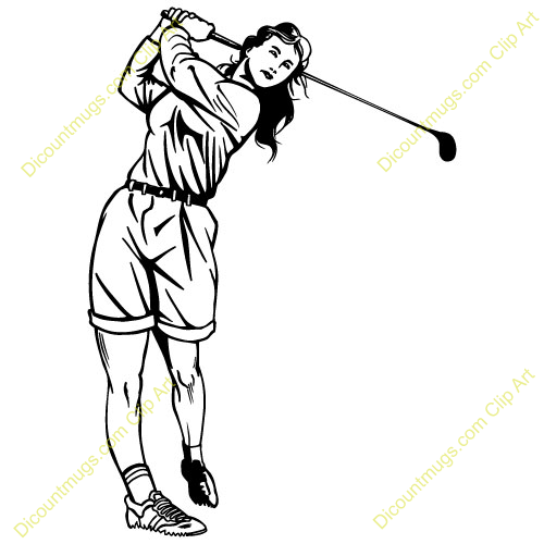 Female golfer clip art.