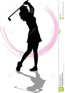 Lady Golfer Silhouette Clipart.