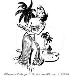 Island girl girl clipart black white.