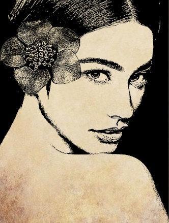 Digital image download mermaid woman island girl clip art.