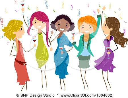 Clipart Group Of Ladies Dancing At A Party.