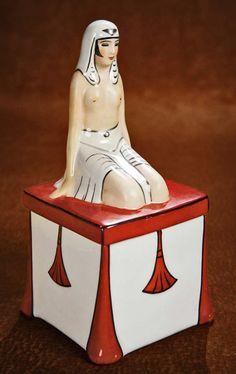 PRIMAVERA Figural Art Deco powder or candy box.