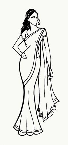 Ladies In Saree Clipart.