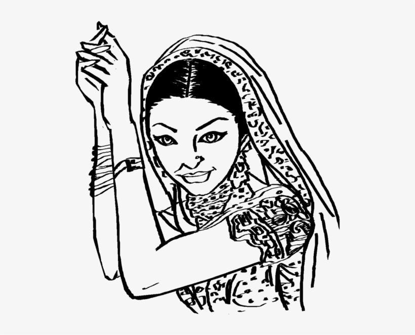 Saree Clipart Black And White.