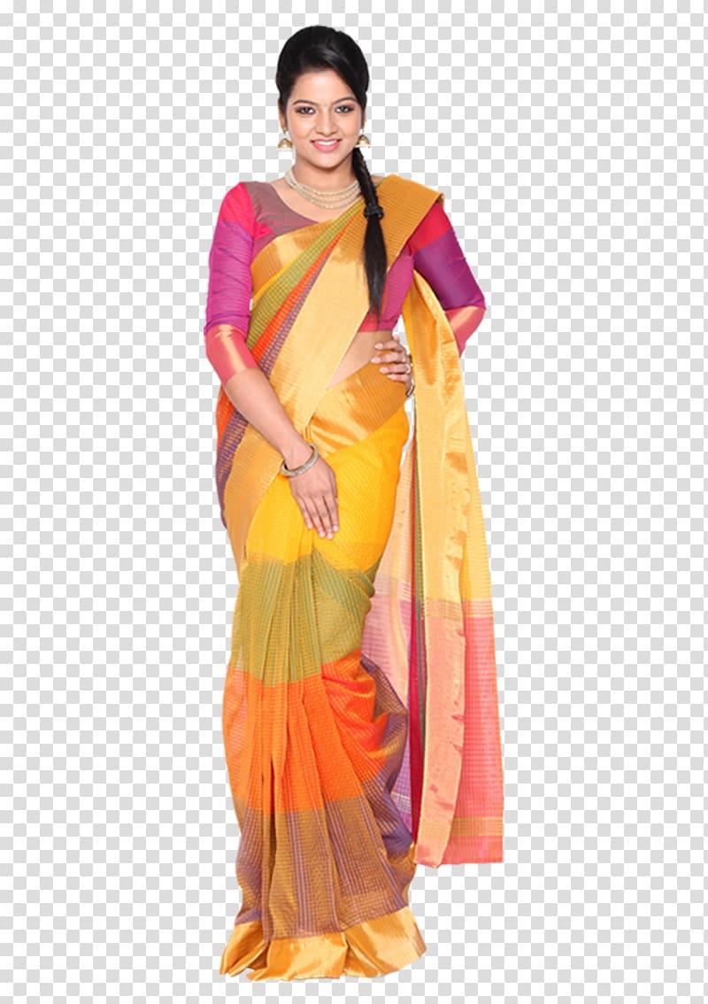 Woman in red, orange, and purple saree dress smiling, Silk.