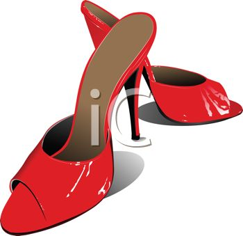 Royalty Free Clip Art Image: Slide In Red Ladies Shoes.