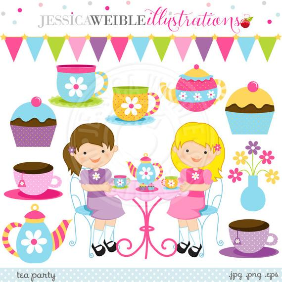 Tea Party Cute Digital Clipart.