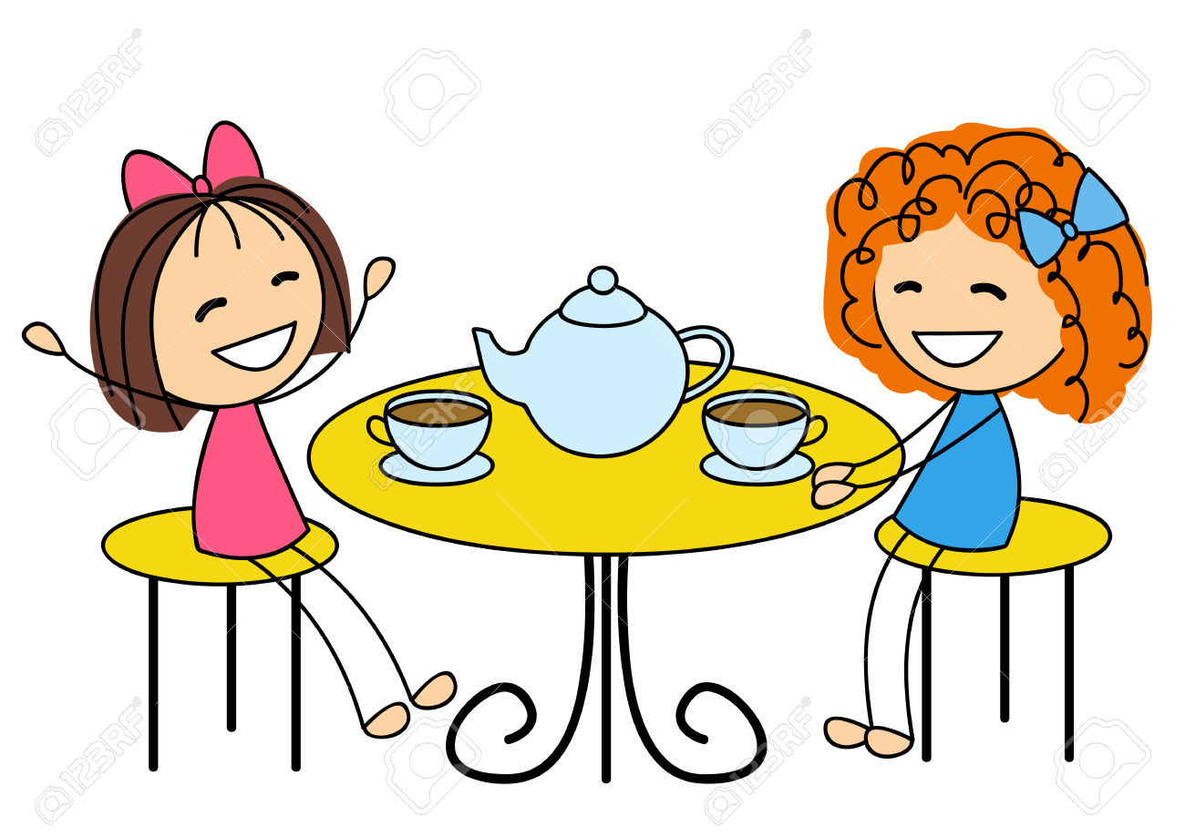Cute Little Girls Drinking Tea Royalty Free Cliparts, Vectors, And.