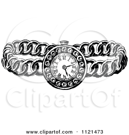 Clipart Of A Retro Vintage Black And White Ladies Wrist Watch.