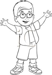 Black and White Cartoon of a Cute Little Boy with Glasses Reaching.