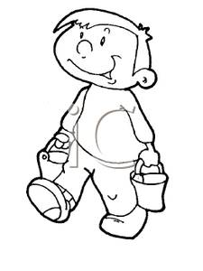 Black and White Cartoon of a Small Lad Carrying Two Pails.