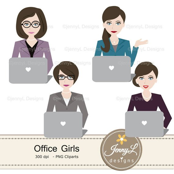 Office Girls Clipart and Digital Papers, Lady Boss, Secretary.