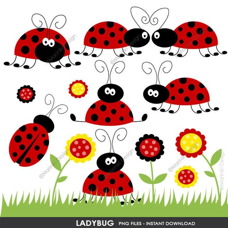 Ladybug Clipart Set, Cute Red Ladybug Clip Art, Spring Garden Flowers  Images for Card Design Scrapbook INSTANT DOWNLOAD CLIPARTS C77.