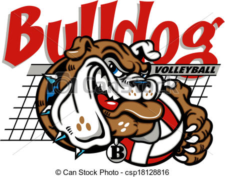 Lady Bulldog Volleyball Clipart.