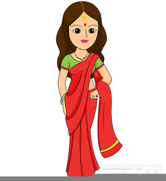 Lady In Saree Clipart.