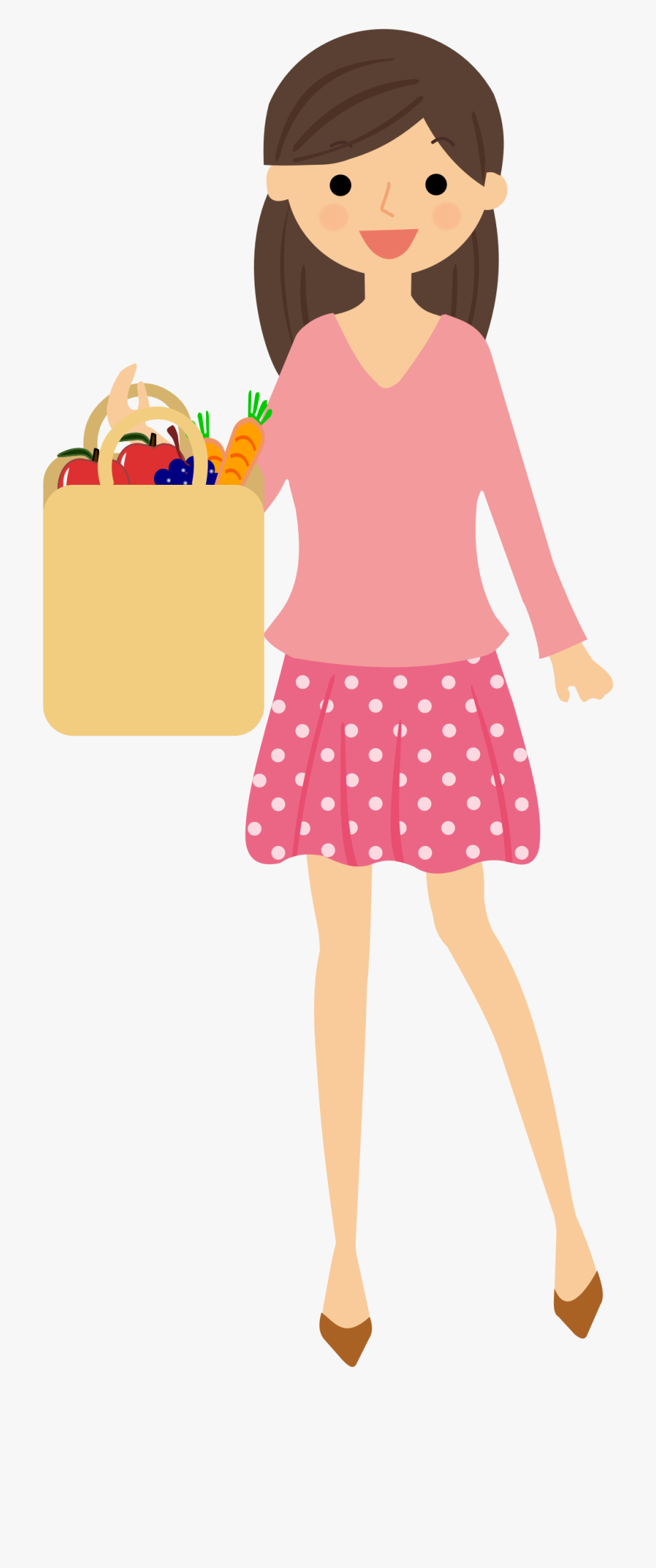 Lady Clipart Grocery Shopping.