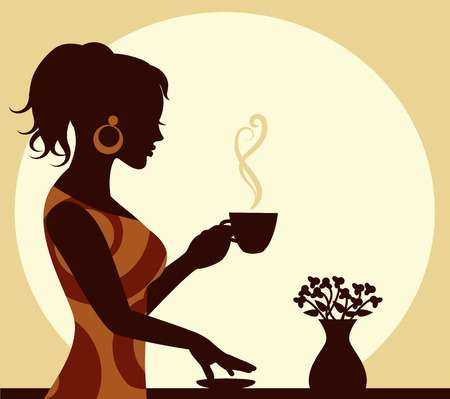 6,832 Woman Drinking Coffee Cliparts, Stock Vector And Royalty Free.