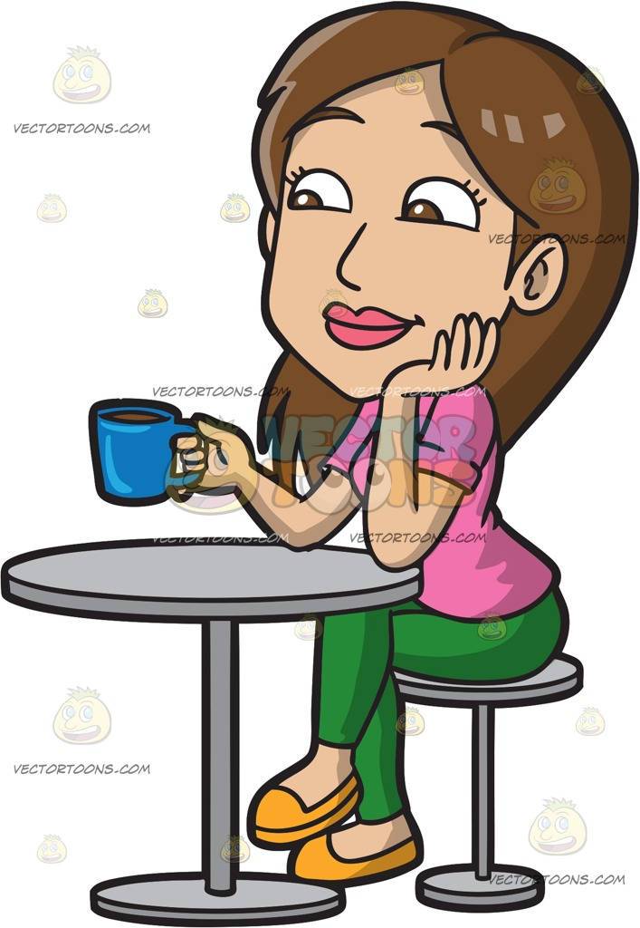 Drinking Coffee Clipart.