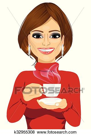 Attractive young woman drinking coffee Clip Art.